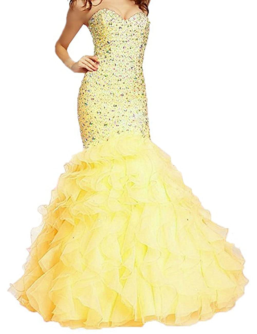 Yellow Beautydress Luxury Beaded Lace Up Sweetheart Mermaid Prom Dresses for Women BP116