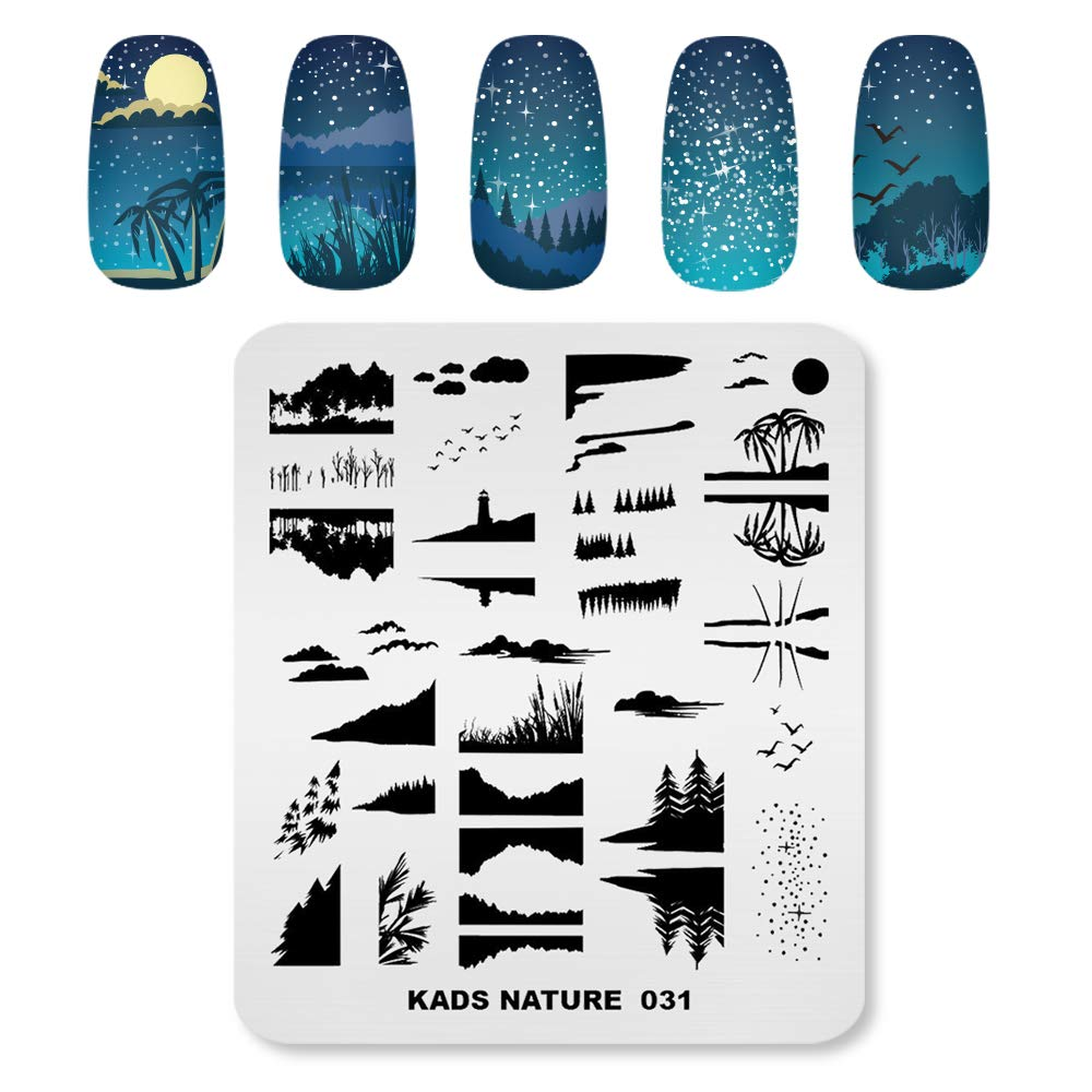 KADS Nail Stamping Plate Nature Template Image Design Plates for Nail Art Decoration and DIY Nail Art (NA031)