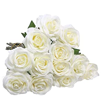 Amazon Ipopu 10 Pcs Romantic Real Touch Artificial Flowers