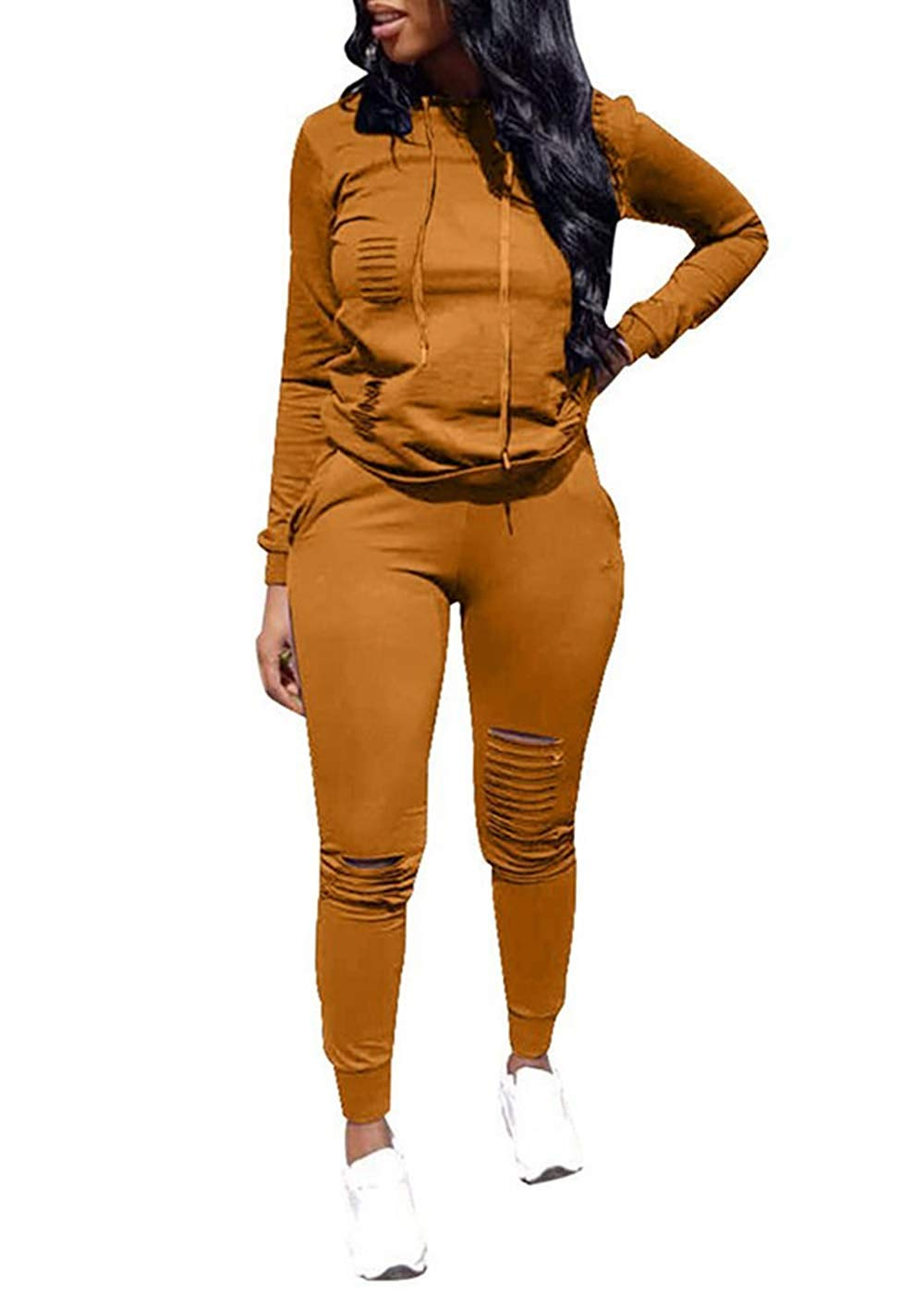 Women Casual Ripped Hole Pullover Hoodie Sweatpants 2 Piece Sport Jumpsuits Outfits Set (Yellow, XL)