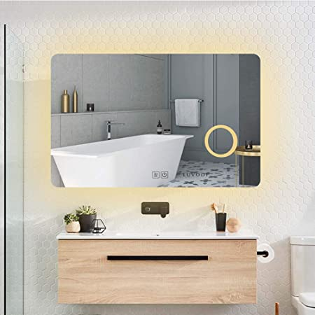 LUVODI Miroir Salle Bain 70x50 cm avec Éclairage Intégré Miroir Mural  Lumineux Anti-buée Grossissant 3X avec Lumière Blanche Froid/Banche Chaud  pour ...