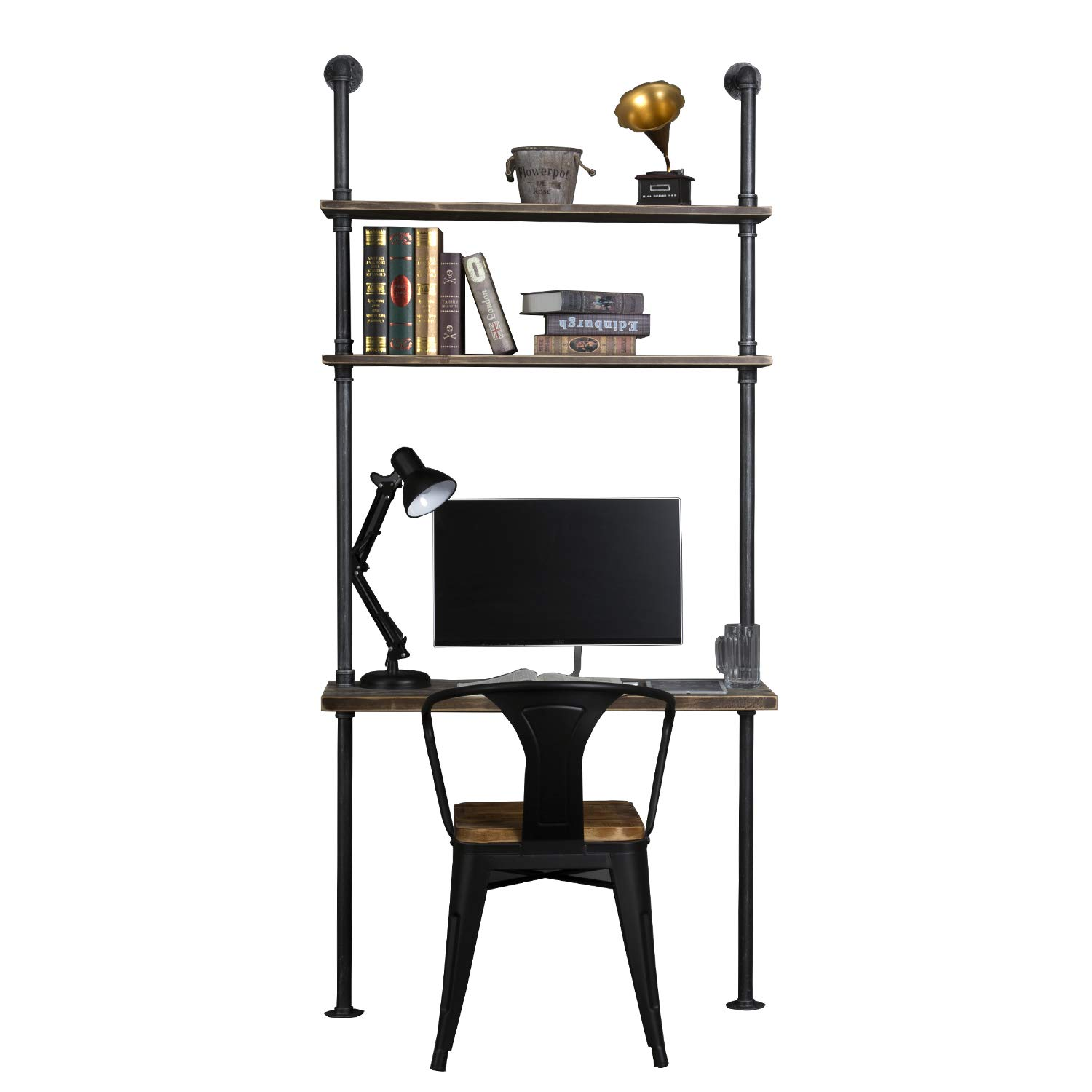 Industrial Style Laptop Desk Solid Wood Computer Desk Storage Table with Shelves Wall Shelf Bookshelf Floating Shelves for Home Office by WGX Design For You
