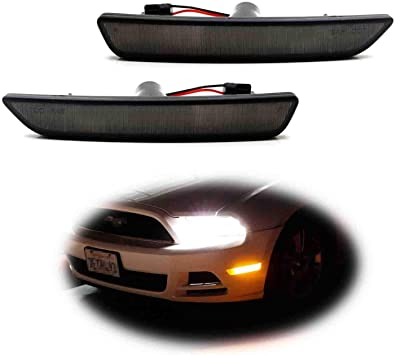 Powered by 45-SMD LED iJDMTOY Smoked Lens Red Full LED Rear Side Marker Light Kit For 2010-14 Ford Mustang Replace OEM Back Sidemarker Lamps