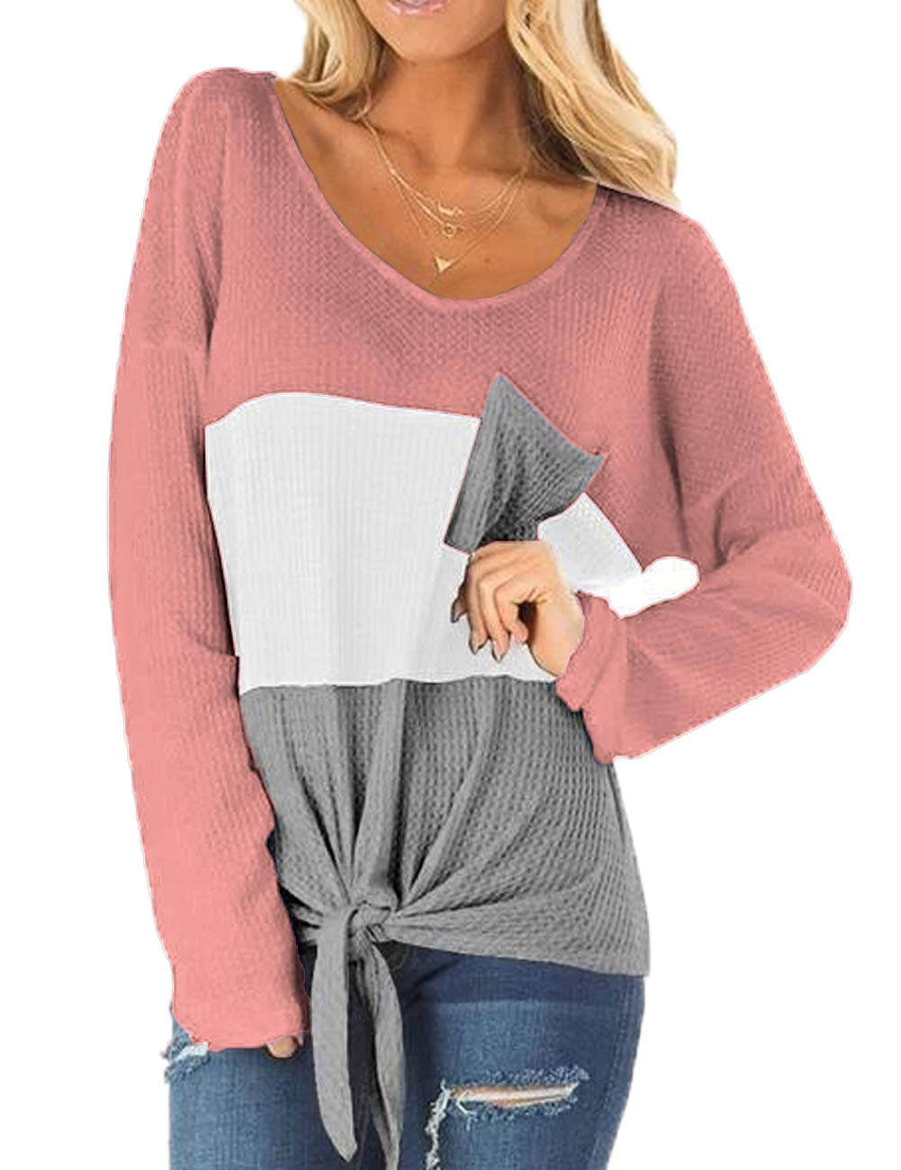 Ido4U Women\'s Long Sleeve Sweater Color Block Casual V Neck Waffle Knit Twist Blouses Tops (S,Pink)