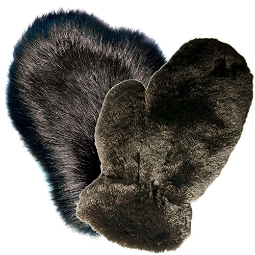 MinkgLove Combination Massage Glove, Fox and Rex Rabbit, Alternating Sensations Silky Smooth and Velvety Soft, Black, Hand Tailored, Unisex - Double Sided Fur by MinkgLove