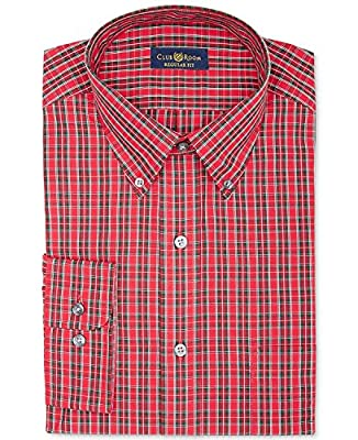 Club Room Tartan Plaid Dress Shirt, Berry Red