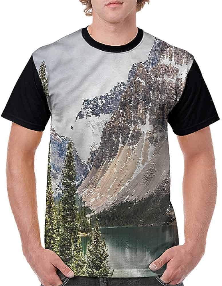 Casual Short Sleeve Graphic Tee Shirts,Alberta Rocks with Ranges Fashion Personality Customization