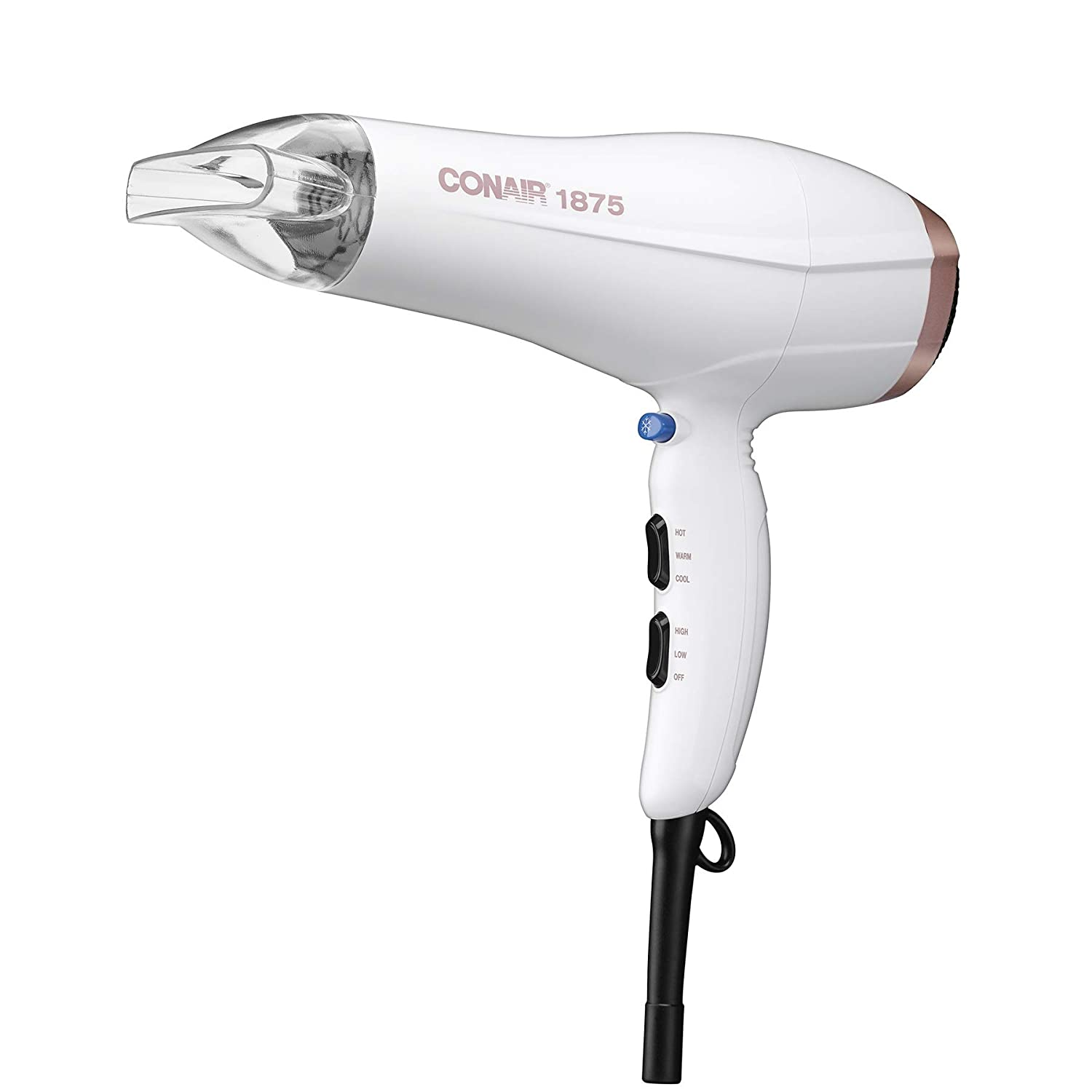Conair 1875W Double Ceramic Hair Dryer, White/ Rose Gold, Pack of 1