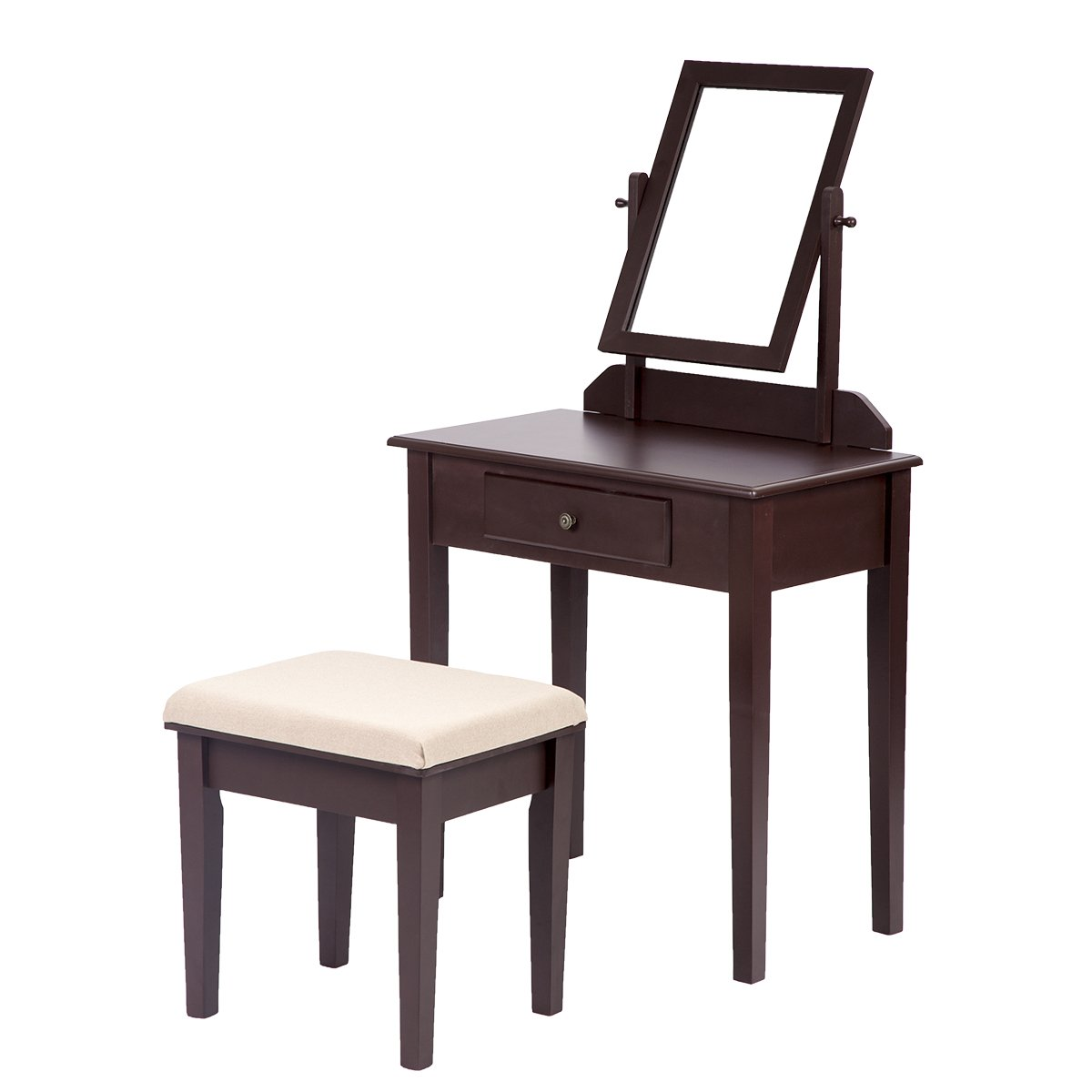 BestMassage Makeup Vanity Set Table with Drawer, Fashional Stool and Mirror