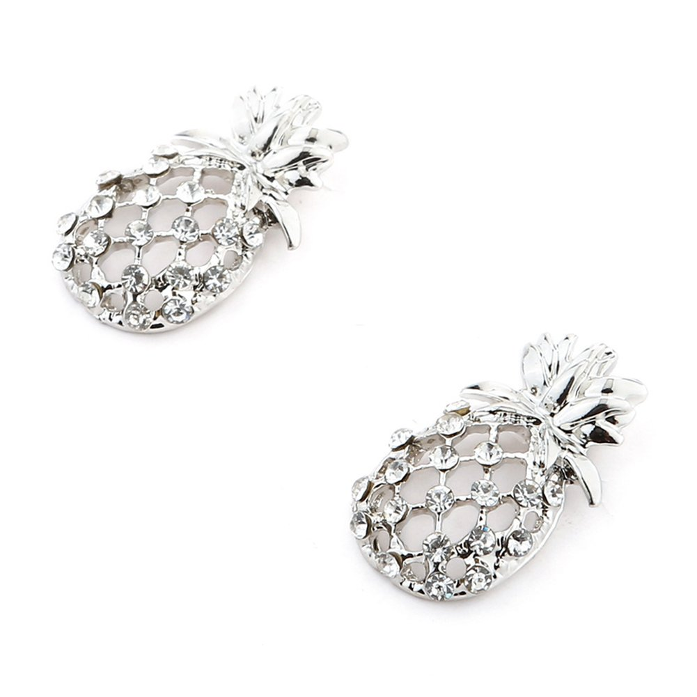 1Pair Exquisite Rhinestone Hollow Pineapple Ear Studs for Women Girl Jewelry Charm Polytree Earrings