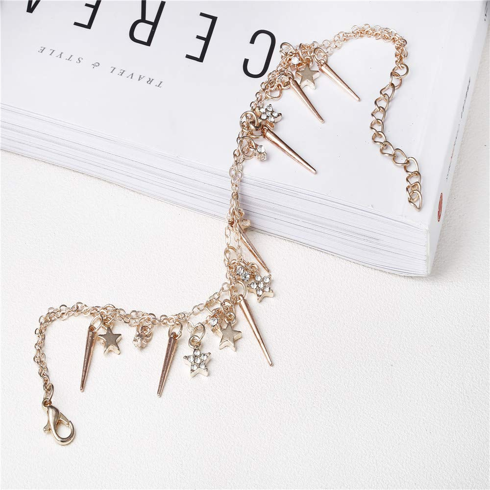 Gold LIEJIE Women Boho Silver BeadsTassel Chain Anklet Barefoot Sandals Foot Jewelry Chain Bracelet Natural Shell and Crystal Tribal Boho Belly Beach Foot Jewelry
