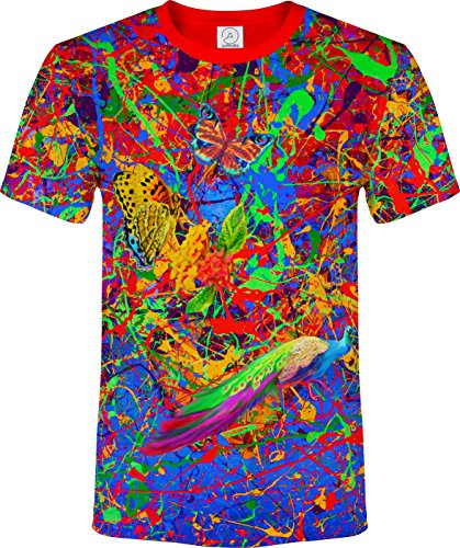 aofmoka Splash Flamingo Butterfly Lion Bird Abstract Fluorescent Blackling UV Neon T-Shirt, Size X Large