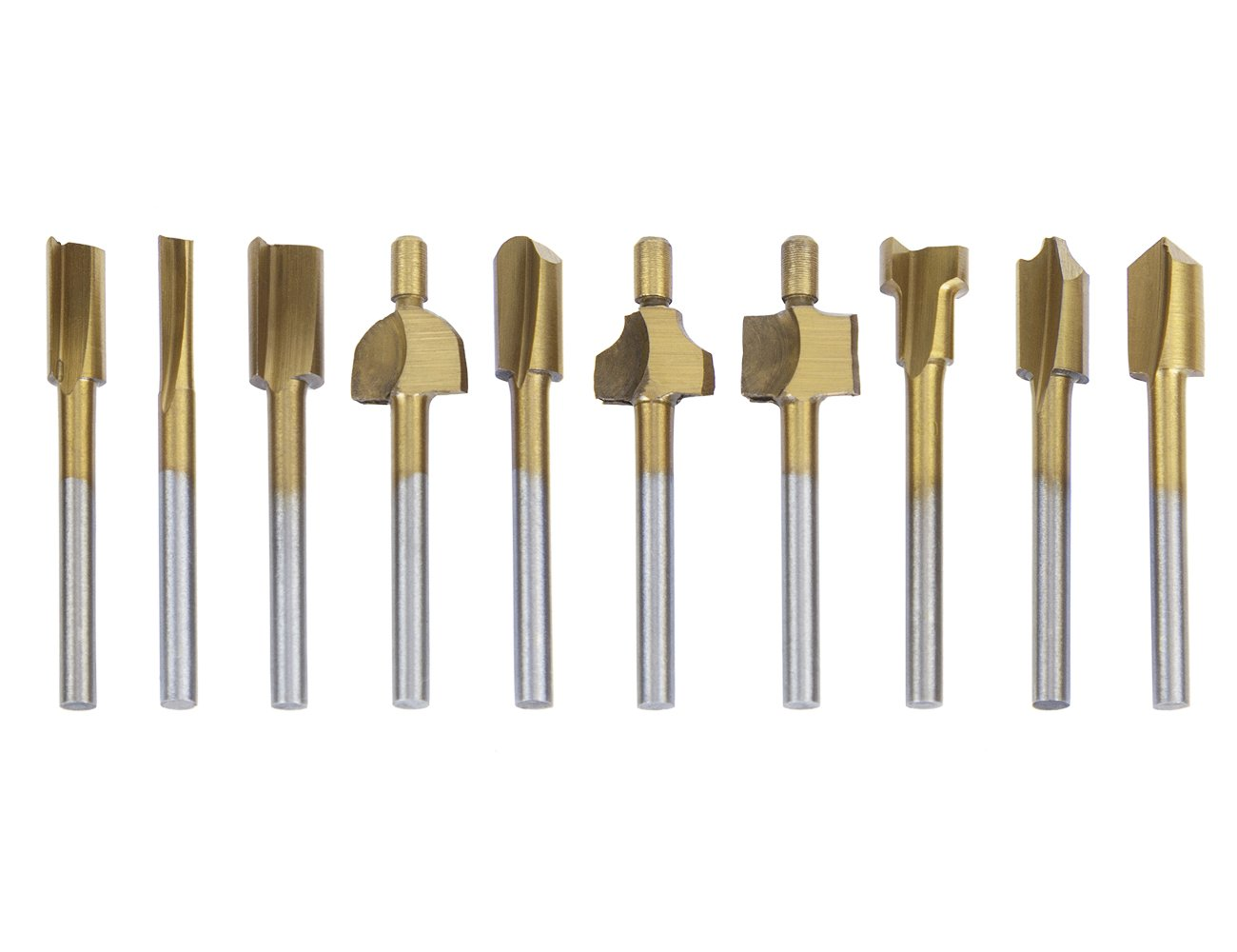"""Tonsiki 10 Pieces Titanium-Coated 1/8""""(3mm) Shank Router Bits Milling Cutter Fit Dremel Rotary Tools for DIY Woodworking, Carving, Engraving, Drilling"""