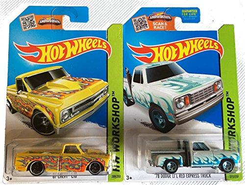 Hot Wheels 2015 Trucks 1967 Chevy C10 & 1970 Dodge Li'l Red Express Truck 2-Car ()