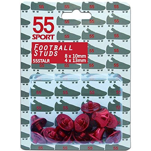 55Sport Pro Custom ligera aleación studs de fútbol 8x 10mm 4x 13mm, rojo rojo