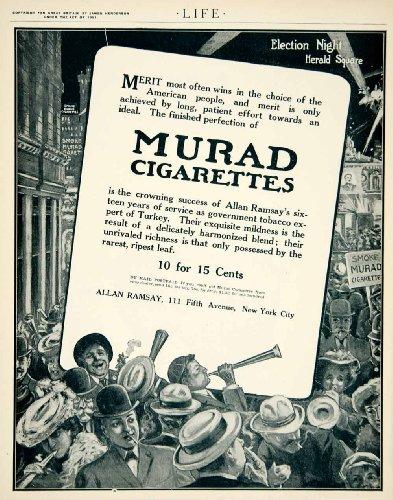1905 Ad Murad Cigarettes Turkish Tobacco Election Night Herald Square Art NYC - Original Print - Herald Square Nyc