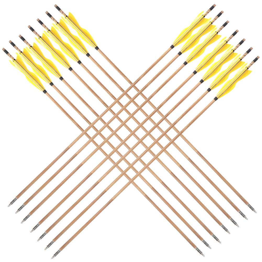 Tihebeyan 32 inch Archery Target Arrows Yellow Hunting Arrow Feather for Recurve Bow Longbow (Pack of 12) by Tihebeyan