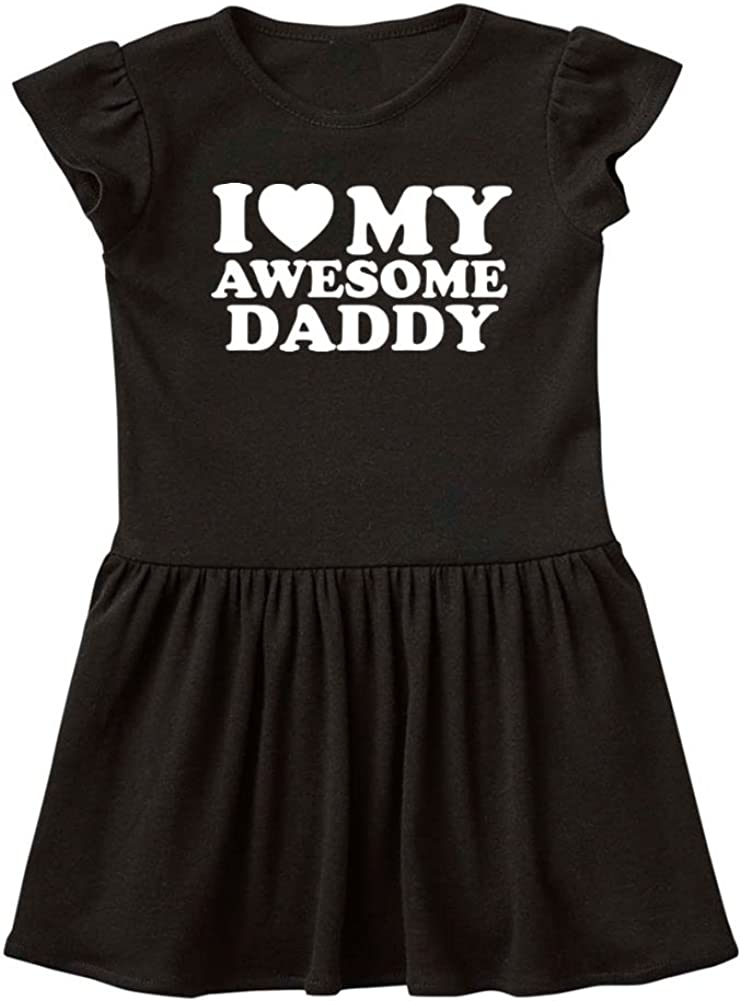 Baby Infant Dress My Awesome Daddy Daddy Gift Fathers Day Mashed Clothing I Love Red Heart