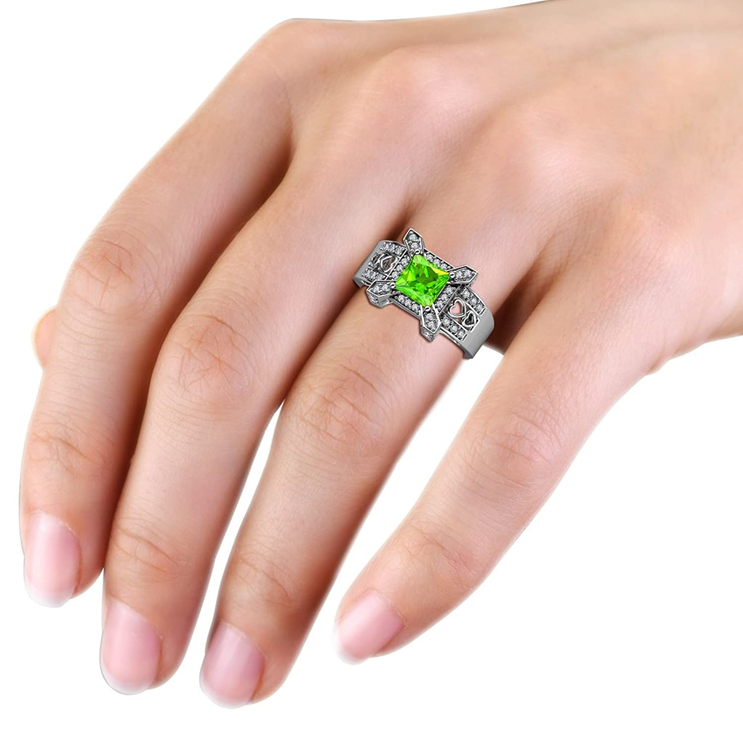 Peridot and Diamond Thick Shank Halo Engagement Ring 1.95 cttw in ...