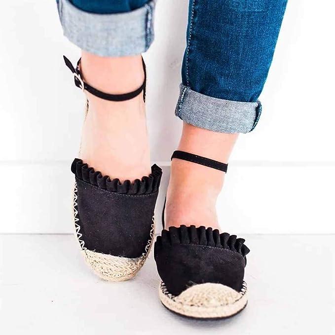 Amazon.com: YKARITIANNA Fashion Retro Flat Casual Shoes Straw Linen Buckle Ruffle Pumps Womens Shoes