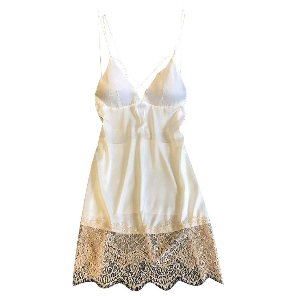Womens Lace Nightgown Sexy Patchwork Sling Sleepwear Lingerie Nightdress Underwear (L, White)
