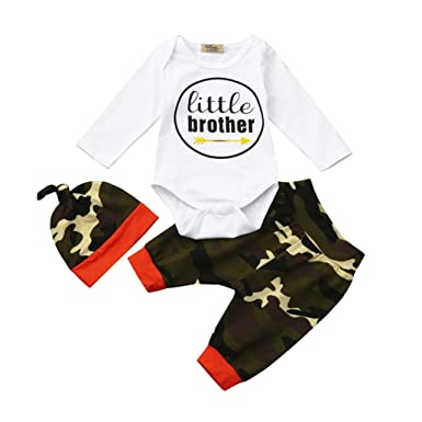 f1c02c3e8af9 Amazon.com  Vovotrade 3Pcs Infant Baby Boy Toddler Letter Print  little  brother   Tops+Camouflage Pants+Hat Outfits Set  Clothing