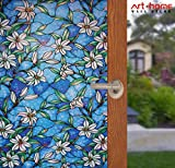 Arthome Stained Decorative Window Glass Privacy Films No Glue Non-Adhesive Self Frosted Static Cling Removable Anti UV for Bathroom Door Bedroom Kitchen Office(90 x 254 cm,Orchid)
