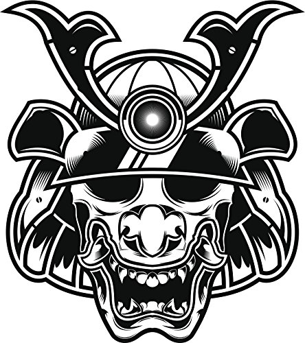 Japanese Scary Mask with Hat Vinyl Decal Sticker (8