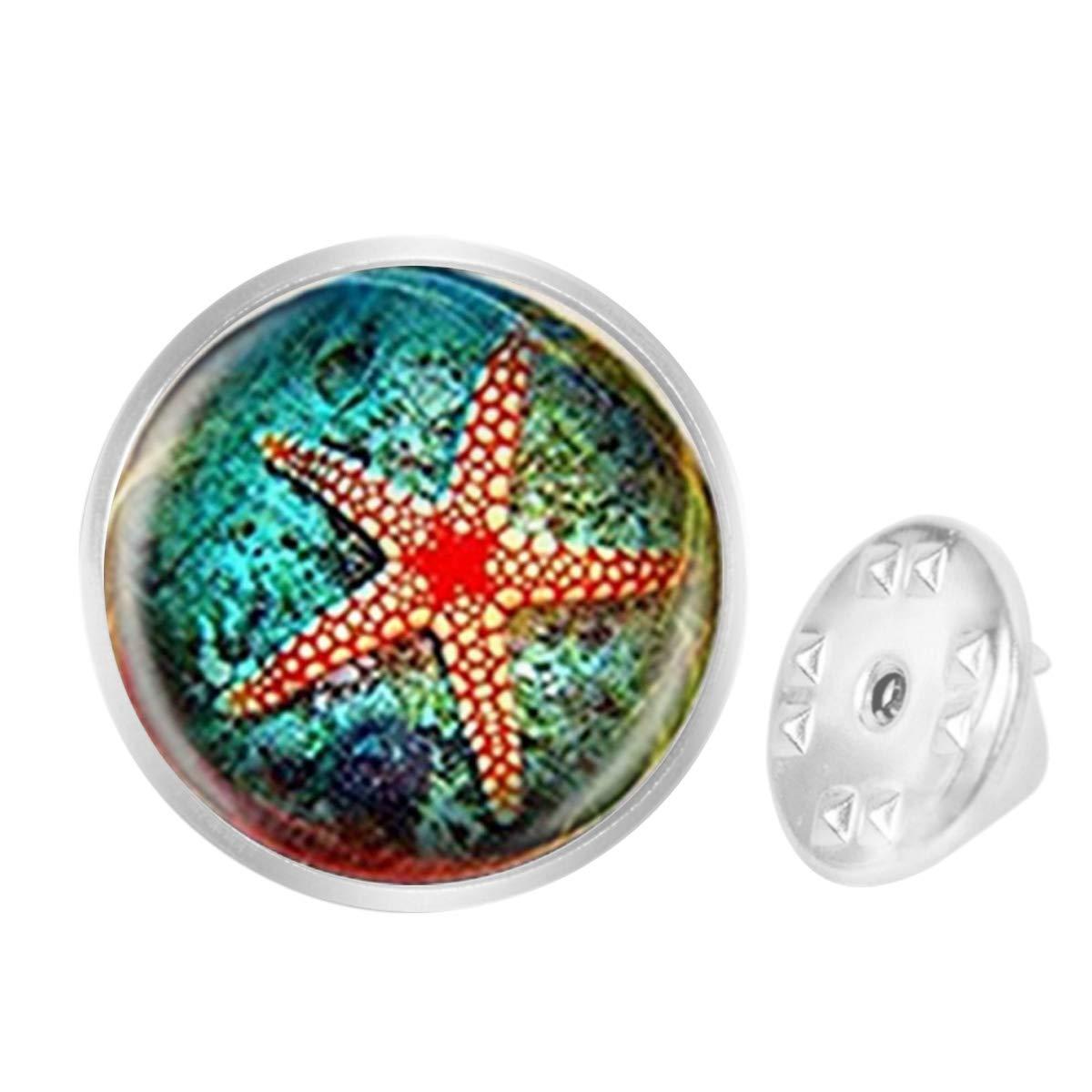 WAZZIT Round Metal Tie Tack Hat Lapel Pin Brooches Funny Sea World Starfish Banquet Badge Enamel Pins Trendy Accessory Jacket T-Shirt
