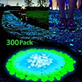 LW Funny Toys 300pcs Glow in the Dark Garden Pebbles for Walkways & Decor and Plants Luminous Stones in Blue & Green & White