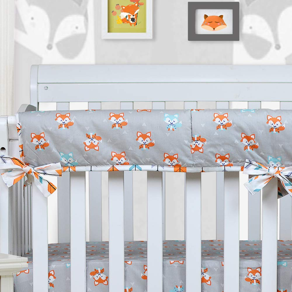 One Long Crib Rail Cover Brandream Woodland Crib Bedding Sets for Boys with Bumpers, Fox Arrow Baby Girl Nursery Bedding,Unisex,11 Pieces, 100% Hypoallergenic Cotton