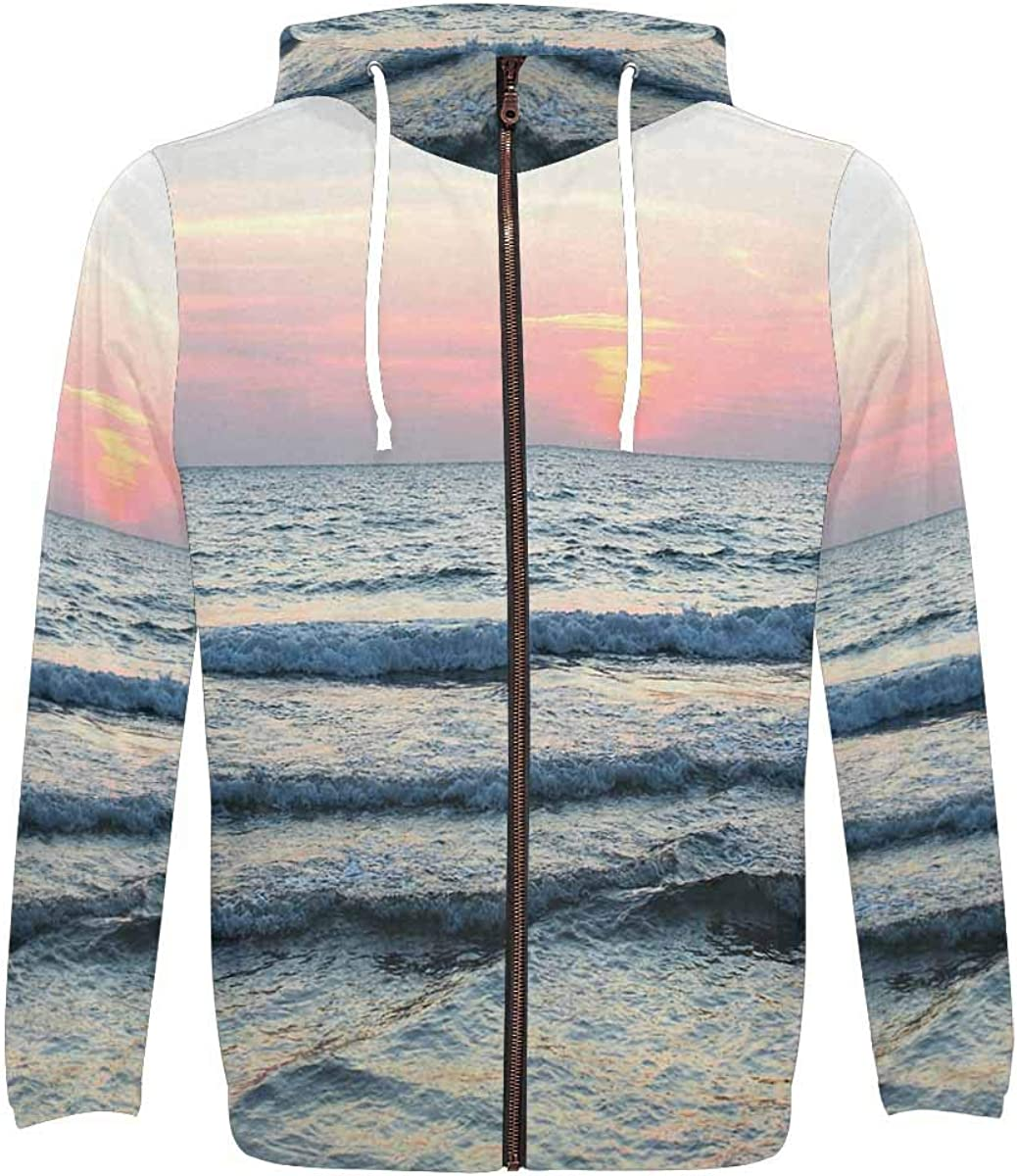 INTERESTPRINT Mens Full Zip Hoodies Sweatshirts Soft Sea Wave in The Evening