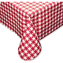 Tavern Check Classic Flannel Backed Vinyl Tablecloth Indoor Outdoor 52-Inch by 70-Inch Oblong (Rectangle), Red & White