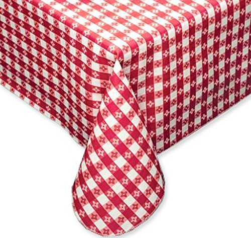 Round Red Vinyl - Tavern Check Classic Restaurant Quality Flannel Back Vinyl Tablecloth, 70