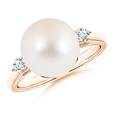 3c8241bc1dba24 Round Freshwater Cultured Pearl Solitaire Engagement Ring with Tiny Diamonds  in 14K Rose Gold (10mm