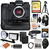 Fujifilm X-H1 Wi-Fi Digital Camera Body & Vertical Power Booster Grip + 128GB Card + Battery & Charger + Backpack + LED Light/Flash + Mic + Tripod Kit