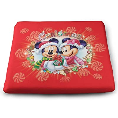 Mickey Mouse Merry Christmas Square Cushion Thick Large Soft Mat Floor Pillow Seating for Home Decor Garden Party for Chair Pads 15x13.7x1.2Inch: Office Products