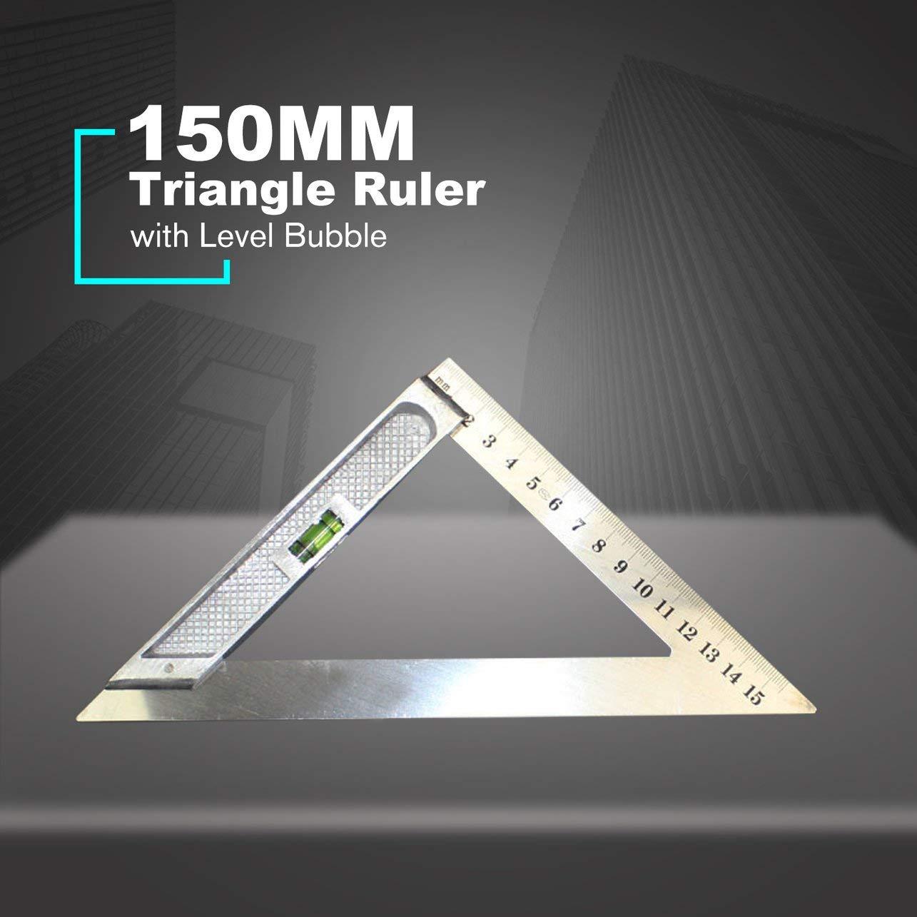 150MM Horizontal Tri/ángulo regla triangular regla de medici/ón de /ángulos del tri/ángulo de /ángulo herramienta de medici/ón con nivel de burbuja plata