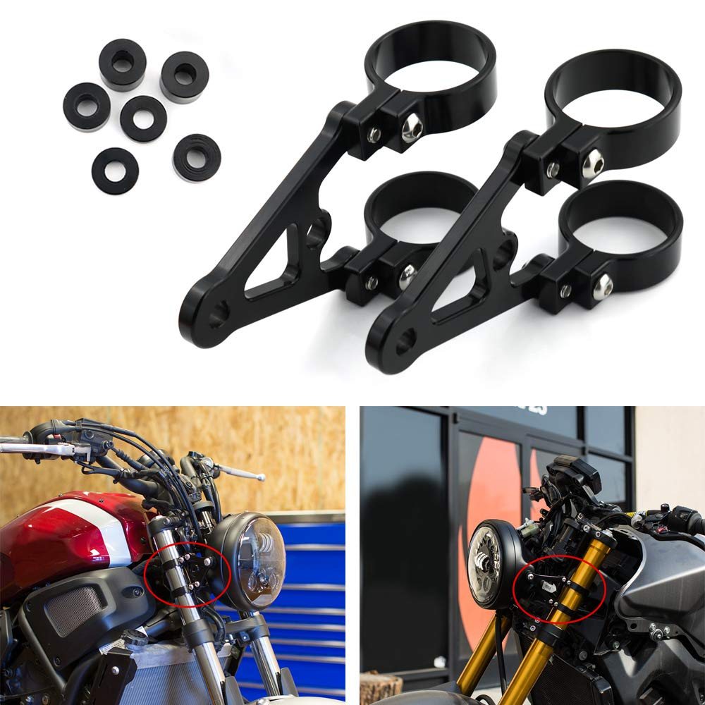 CNC Mount Headlight Brackets Xitomer 1 Pair for Front Fork Tubes 43mm 43mm for 7 or 5.75 Round Headlight