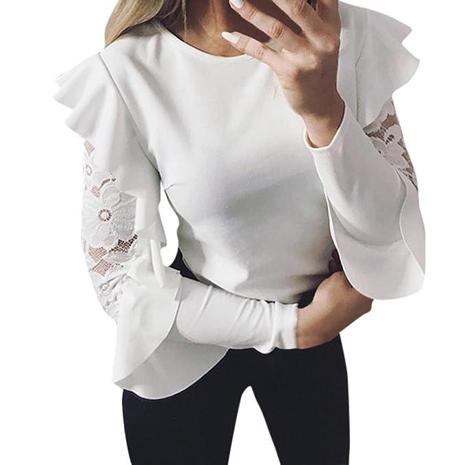 Koly Mujer Camiseta Mangas Largas Volantes Lunares Blusa Elegante Noche Casual Oficina Stitching O-Cuello