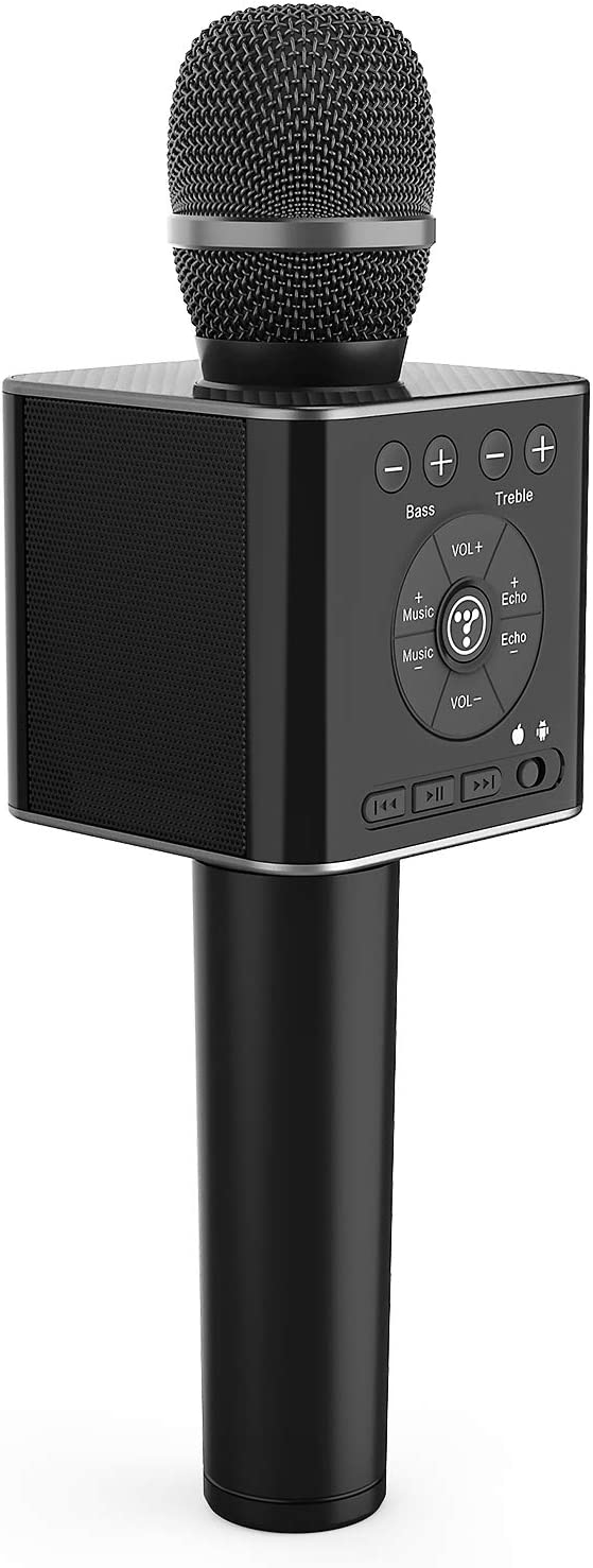 TOSING 04 Wireless Bluetooth Karaoke Microphone,Louder Volume 10W Power, More Bass, 3-in-1 Portable Handheld Double Speaker Mic Machine for iPhone/Android/iPad/PC (04, Black-1)