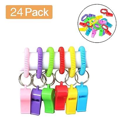 Amazon.com: Pack de 24 pulseras de silbato de muñeca con ...