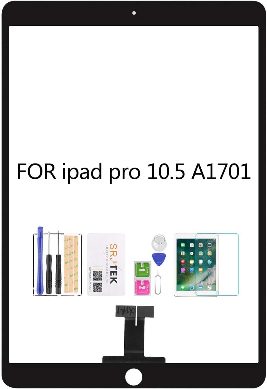 SRJTEK for ipad pro 10.5 A1701 A1709 Touch Screen Replacement Kit,(Not LCD, NO Instructions) Touch Digitizer,Glass Repair Parts,Include Tempered Glass (Black)