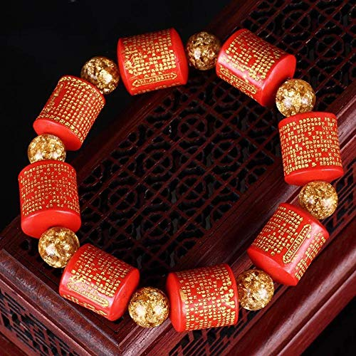- Mayanyan Hand-Carved Heart Sutra Barrel Pearl red Cinnabar Gold foil Beads Hand String Men and Women Gifts