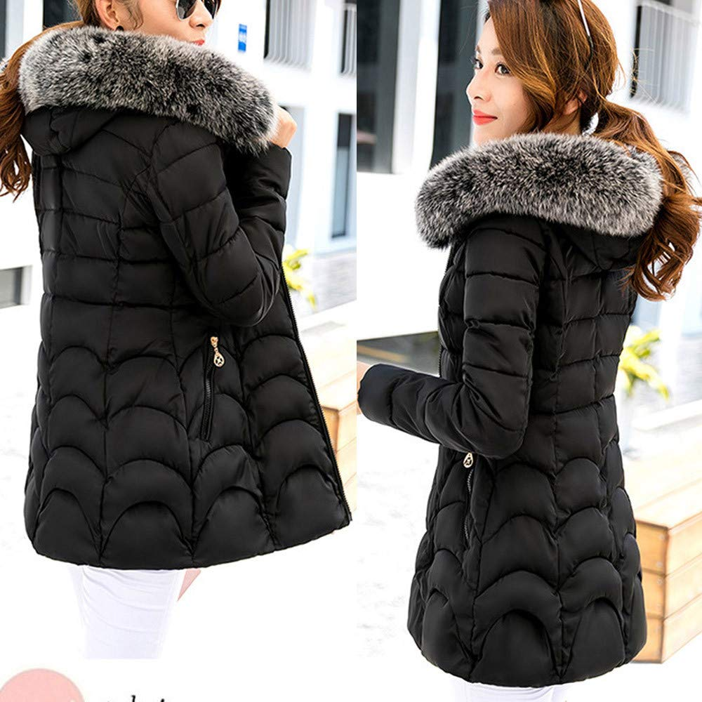 Womens Warm Long Coat Fur Collar Hooded Jacket Slim Parka Outwear Laimeng/_World Women Coats Winter