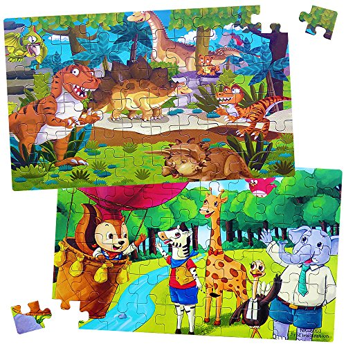 Dinosaur Puzzle Set (Dinosaur and Animals Cartoon Wooden Jigsaw Puzzles Set (60 pcs each) Early Development Learning Educational Toys for Preschool Kids Toddlers Childrens Boys Girls Birthday Gift for age 3 4 5 years old)