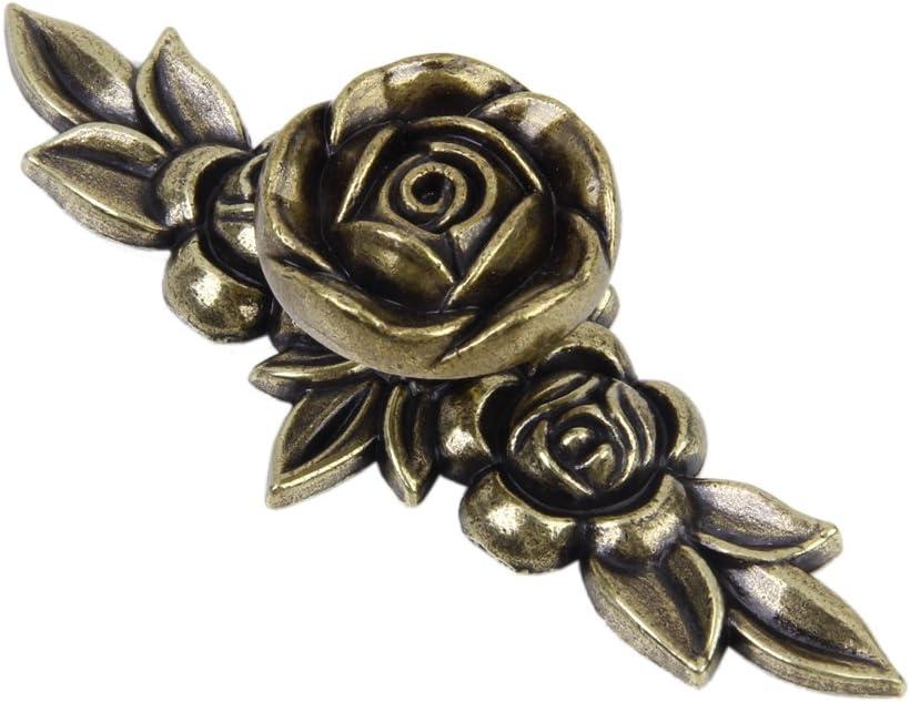 2 x Poign/ée de Traction en Forme de Rose Antique pour Armoires Tiroir Meubles 103mm