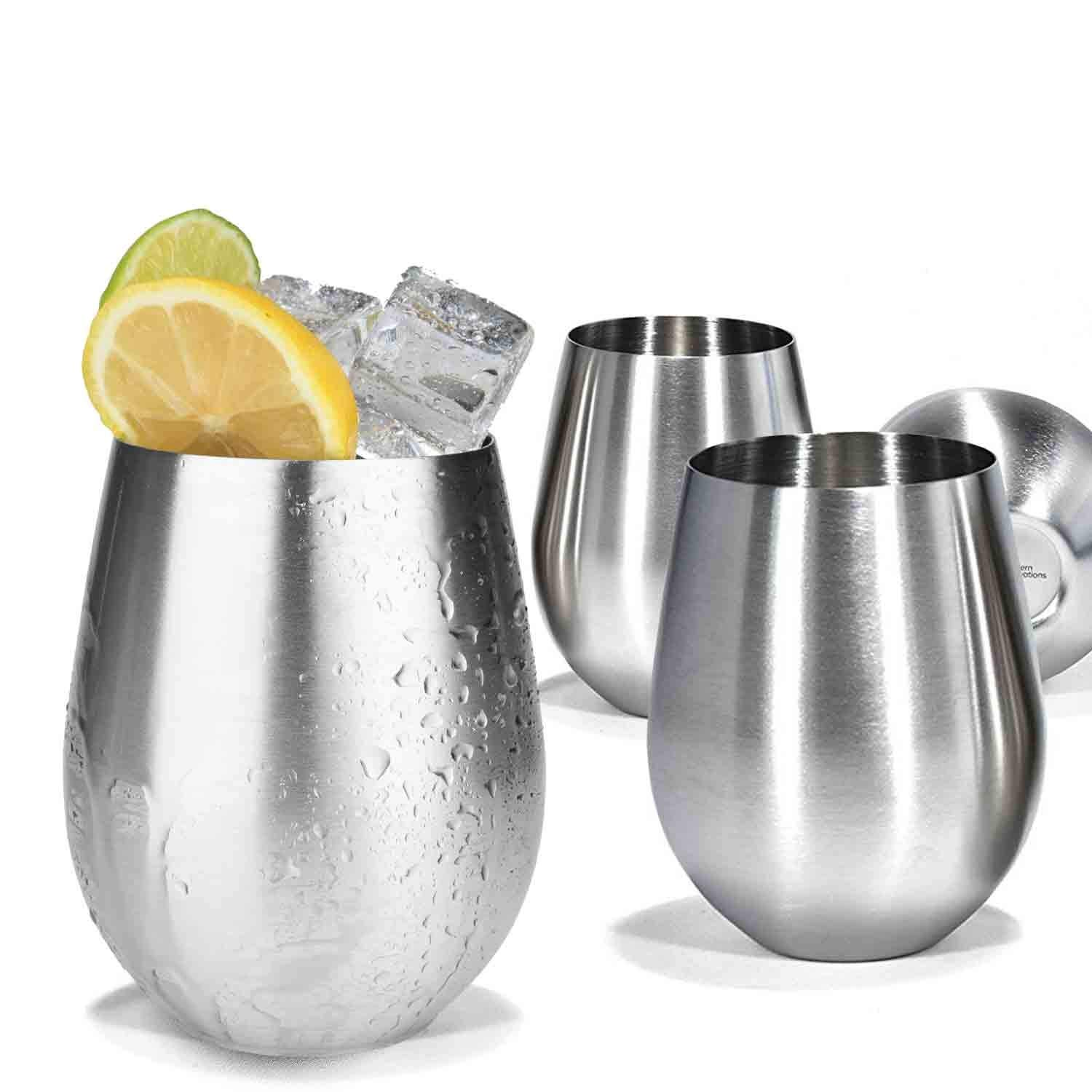 Modern Innovations Stainless Steel Stemless Wine Glasses, Set of 4, 18 Oz Elegant Wine Glasses Made of Dishwasher Safe Unbreakable BPA Free Shatterproof SS Great for Daily, Formal & Outdoor Use