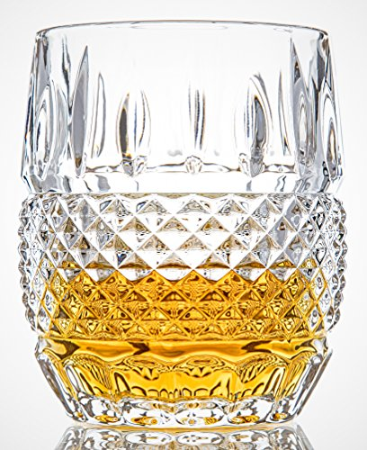 Vintage Malt Whisky - Van Daemon - 'Crystal Cask' Whiskey Glasses - Lead Free Crystal. Set of 2 Tumblers (10oz) for Liquor. Perfect as a Gift.