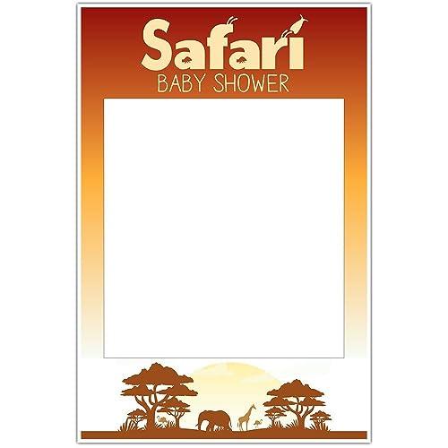 Amazon.com: Safari Baby Shower Selfie Frame Social Media Photo Prop ...